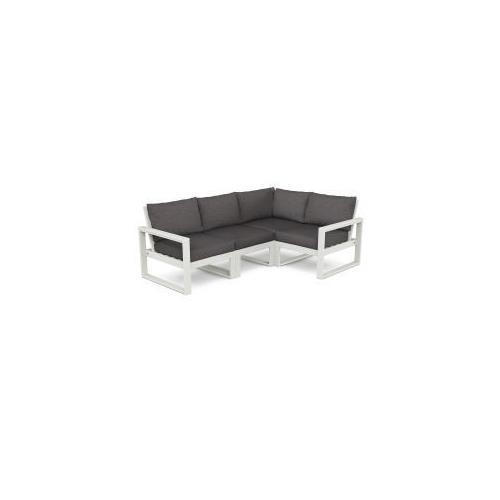 Polywood Furnishings - EDGE 4-Piece Modular Deep Seating Set in Vintage White / Ash Charcoal