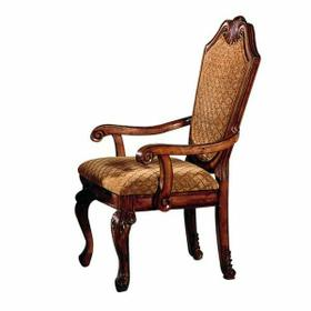 ACME Chateau De Ville Arm Chair (Set-2) - 04078 - Fabric & Cherry