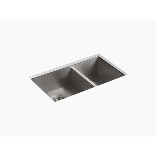 """33"""" X 22"""" X 9-5/16"""" Top-mount/undermount Large/medium Double-bowl Kitchen Sink With 4 Faucet Holes"""