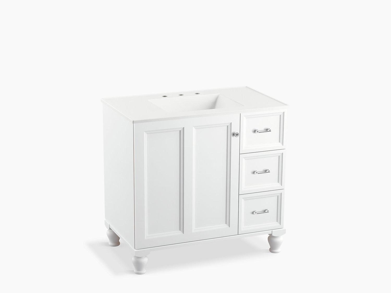 24-Inch KOHLER K-99527-LG-1WA Poplin Vanity with Furniture Legs 2 Doors and 1 Drawer Linen White