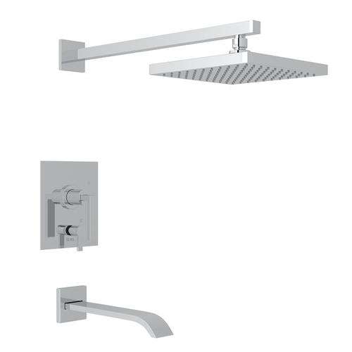 Polished Chrome WAVE PRESSURE BALANCE SHOWER PACKAGE with Wave Metal Lever