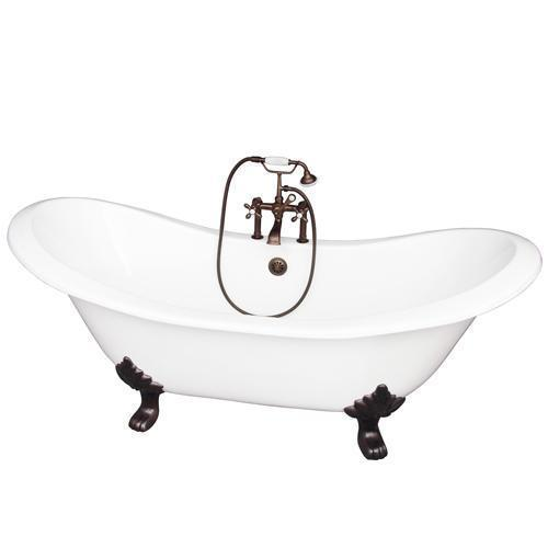 """Marshall 71"""" Cast Iron Double Slipper Tub Kit - Oil Rubbed Bronze Accessories"""