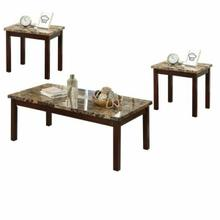 ACME Finely II 3Pc Pack Coffee/End Set - 80035 - Light Brown Faux Marble & Cherry