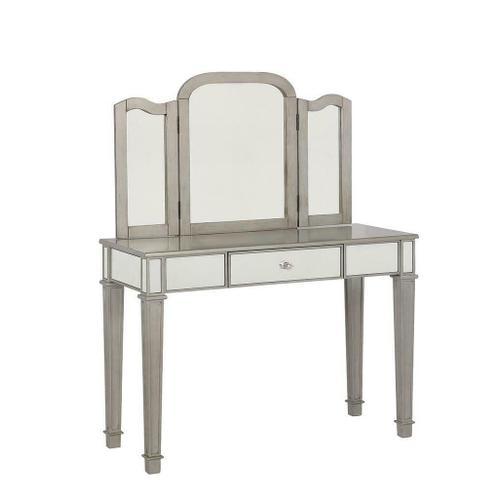 Contemporary Metallic Platinum Vanity Set
