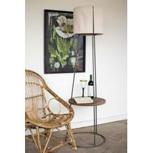 See Details - side table floor lamp with canvas shade