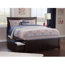Metro Queen Flat Panel Foot Board with 2 Urban Bed Drawers Espresso