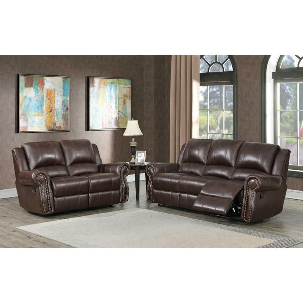 See Details - Sir Rawlinson Burgundy Brown Motion Sofa and Loveseat