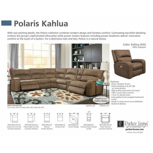 POLARIS - KAHLUA Power Right Arm Facing Recliner