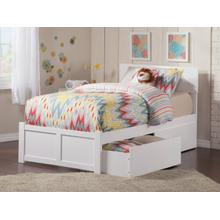View Product - Orlando Twin Flat Panel Foot Board with 2 Urban Bed Drawers White