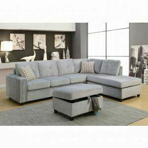 ACME Belville Sectional Sofa w/Pillows (Reversible) - 52710 - Gray Velvet