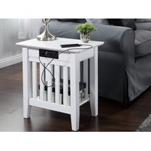 See Details - Mission Chair Side Table with Charger White