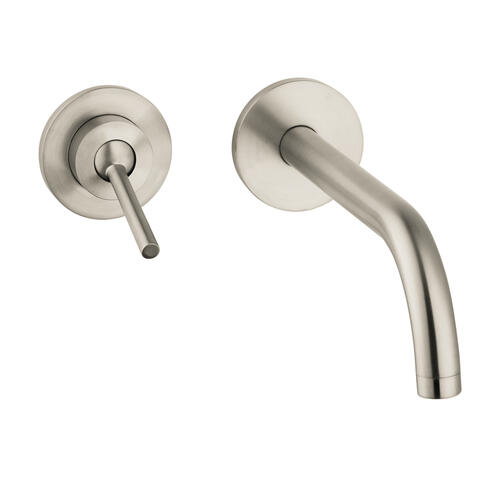 Brushed Nickel Single lever basin mixer for concealed installation wall-mounted with spout