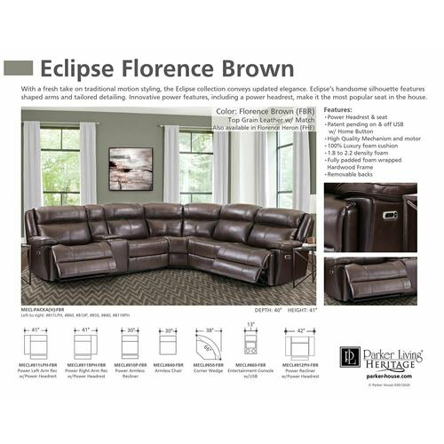 Product Image - ECLIPSE - FLORENCE BROWN Power Armless Recliner