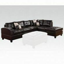 ACME Kiva Sectional Sofa w/2 Pillows (Reversible) - 51195_KIT - Black Bonded Leather Match