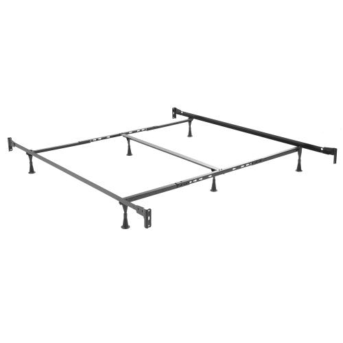 Fashion Bed Group - Kensington Complete Metal Bed and Steel Support Frame with Stately Posts and Detailed Castings, Vintage Silver Finish, King