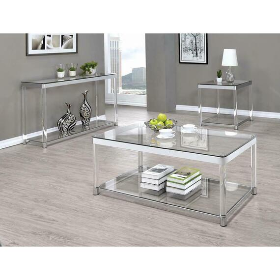 Coaster - Contemporary Chrome Sofa Table