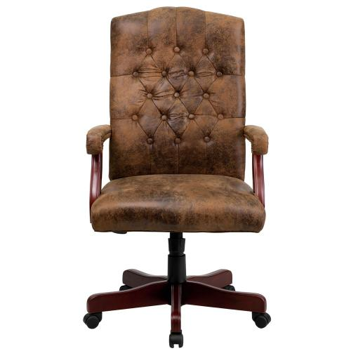 Alamont Furniture - Bomber Brown Classic Executive Swivel Chair with Arms
