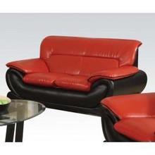 See Details - Red/black Bonded L. Loveseat