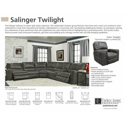 SALINGER - TWILIGHT Power Armless Recliner
