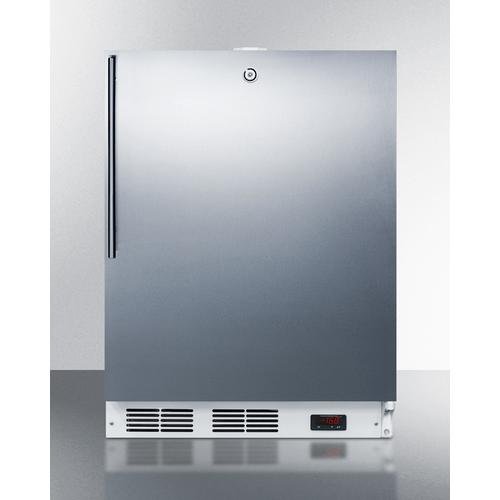 View Product - Built-in Undercounter ADA Compliant Frost-free All-freezer for General Purpose Use, With Digital Thermostat, White Cabinet, Stainless Steel Door, Thin Handle, and Lock