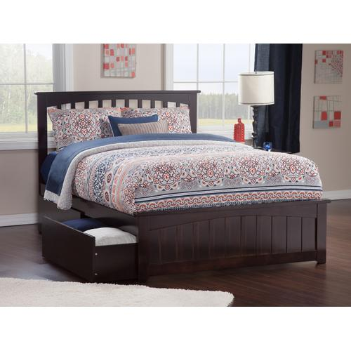 Mission Queen Bed with Matching Foot Board with 2 Urban Bed Drawers in Espresso