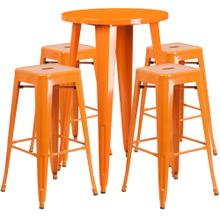 24'' Round Orange Metal Indoor-Outdoor Bar Table Set with 4 Square Seat Backless Stools