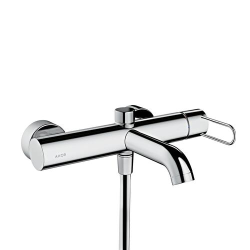 Polished Gold Optic Single lever bath mixer for exposed installation with loop handle