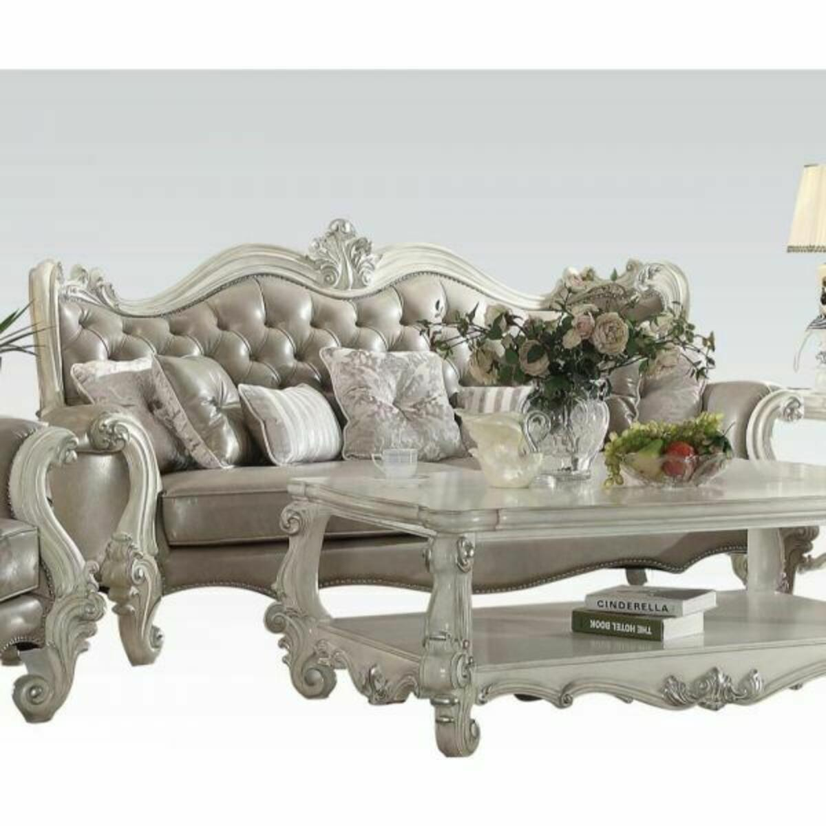 ACME Versailles Sofa w/7 Pillows - 52125A - Vintage Gray PU & Bone White