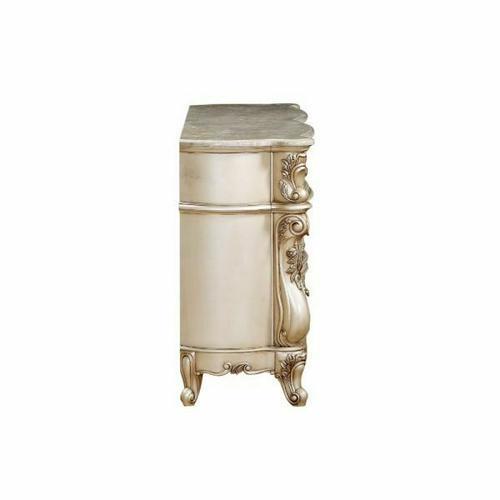 ACME Gorsedd Dresser w/Marble Top - 27445 - Marble & Antique White