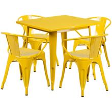 31.5'' Square Yellow Metal Indoor-Outdoor Table Set with 4 Arm Chairs
