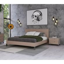 Nova Domus Boston - Modern Brown Oak & Brushed Stainless Steel Bed
