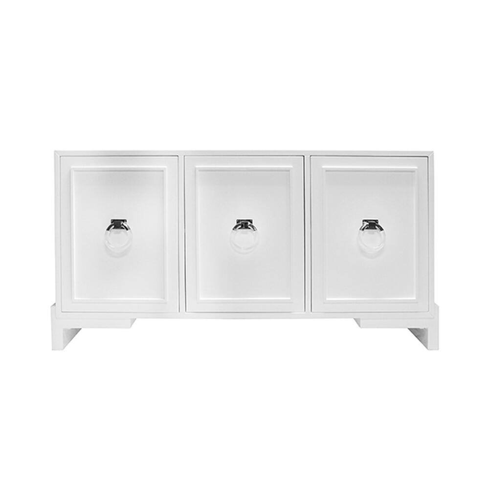 Capture the Glamour of Hollywood Regency Style With Our Lyra Cabinet. Finished In Our Signature Glossy White Lacquer and Punctuated With Imposing Nickel and Lucite Ring Pulls. Lyra Offers Gracious Storage With Removable/adjustable Shelves In Each of Its Three Cabinets.