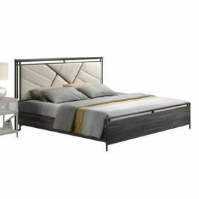 ACME Adrianna Queen Bed - 20950Q - Cream Cotton Fabric & Walnut