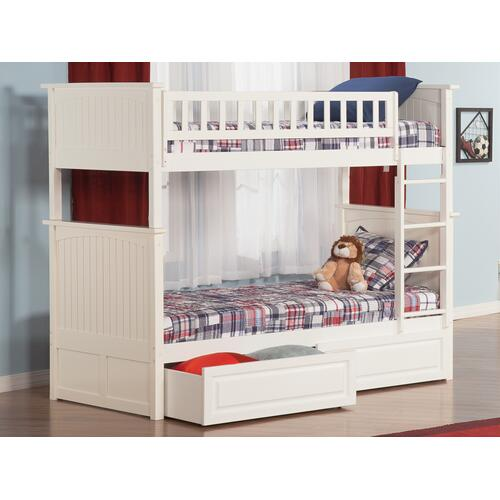 Nantucket Bunk Bed Twin over Twin with Raised Panel Bed Drawers in White