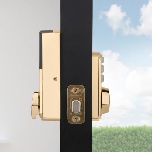 Kwikset - 914 SmartCode Traditional Electronic Deadbolt with Zigbee Technology - Lifetime Polished Brass