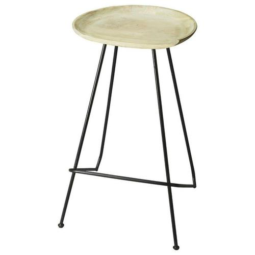 Suggesting a cup of cappucino with a creamy solid mango wood seat perched atop a strong black steel base and legs, this Bar Stool features clean lines and colors that work in virtually any d cor.