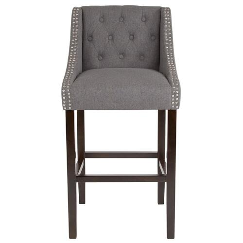 """30"""" High Transitional Tufted Walnut Barstool with Accent Nail Trim in Dark Gray Fabric"""