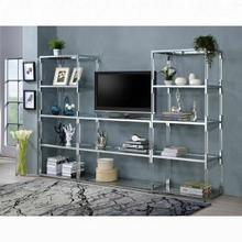ACME Raegan TV Stand - 91245 - Clear Acrylic - Chrome & Clear Glass