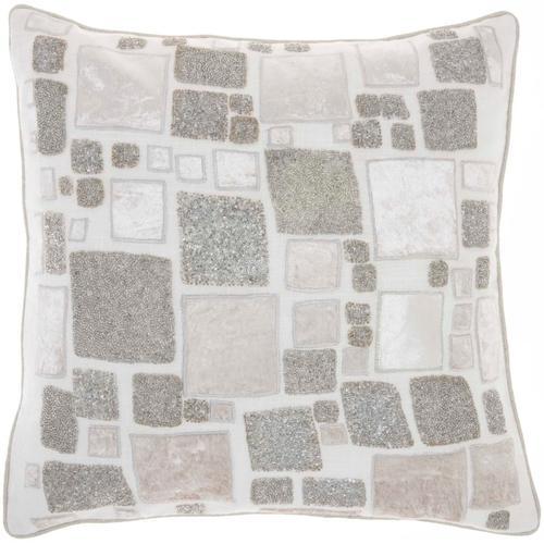 """Sofia Pn628 Ivory/silver 20"""" X 20"""" Throw Pillow"""