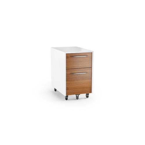 Mobile File Pedestal 6307 in Natural Walnut Satin White