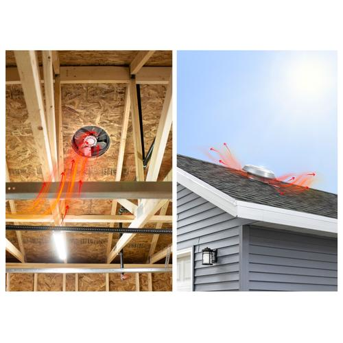Broan - Broan® 1000 CFM Powered Attic and Garage Ventilation Fan, Roof Mounted, Aluminum Dome