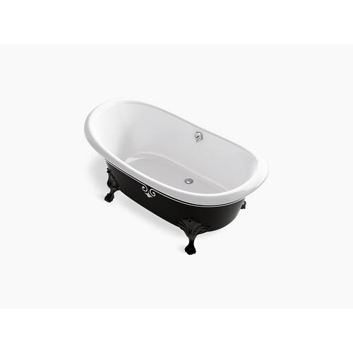 "White 66"" X 33"" Freestanding Bath With Iron Black Exterior and Decorative Border"