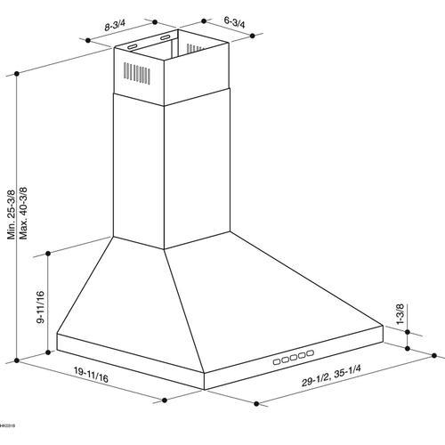 Broan - Broan® 30-Inch Convertible Wall-Mount Pyramidal Chimney Range Hood, 630 MAX CFM, Stainless Steel