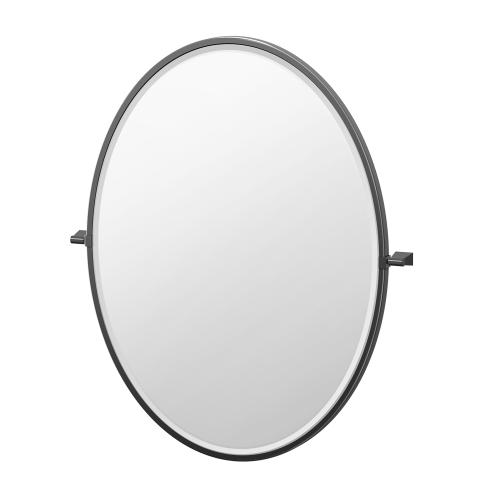 Bleu Framed Oval Mirror in Matte Black