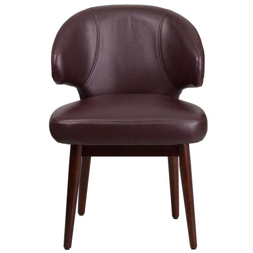 Burgundy Leather Side Reception Chair with Walnut Legs