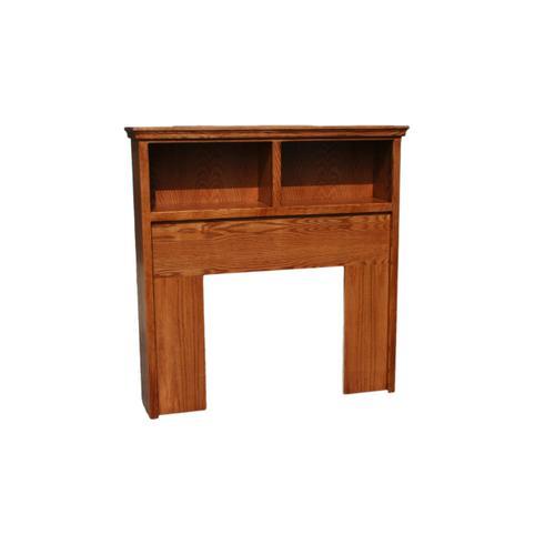 O-T285-T Traditional Oak Twin Open Bookcase Headboard