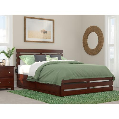 Atlantic Furniture - Oxford Queen Bed with Footboard and USB Turbo Charger with Twin Extra Long Trundle in Walnut