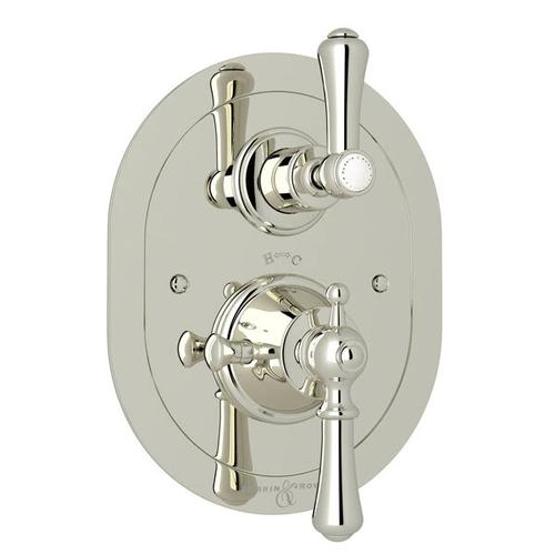 Georgian Era Oval Thermostatic Trim Plate with Volume Control - Polished Nickel with Metal Lever Handle