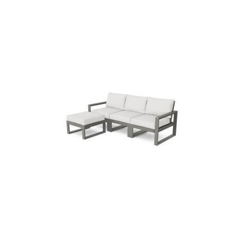 Polywood Furnishings - EDGE 4-Piece Modular Deep Seating Set with Ottoman in Slate Grey / Natural Linen