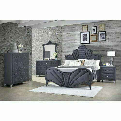 ACME Dante Queen Bed - 24230Q - Glam - Velvet, Inner Frame: MDF, PB, Chipboard - Gray Velvet